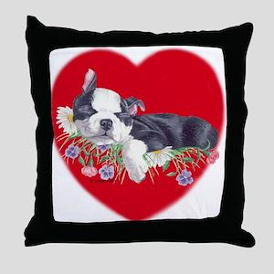 Boston Terrier Puppy Love Throw Pillow