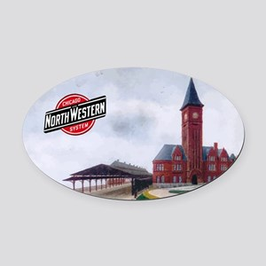 Milwaukee's Northwestern Depot Oval Car Magnet
