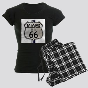 Miami Route 66 Sign Women's Dark Pajamas