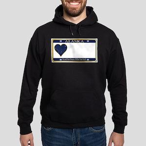Alaska State License Plate Hoodie (dark)
