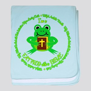 FAT FROG with a BIBLE baby blanket
