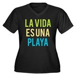 Life's a Bea Women's Plus Size V-Neck Dark T-Shirt