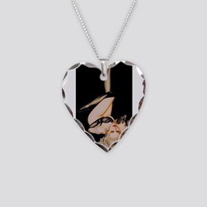 Erotic Pin Up Necklace Heart Charm