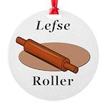 Lefse Roller Round Ornament