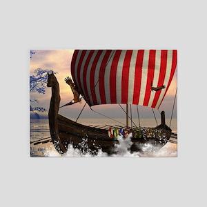 The viking longship 5'x7'Area Rug