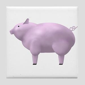 Pink Pig Tile Coaster