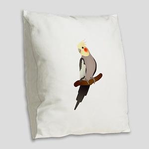 Cockatiel Burlap Throw Pillow