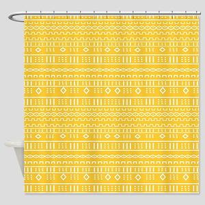 Yellow Gold Modern Mudcloth Shower Curtain