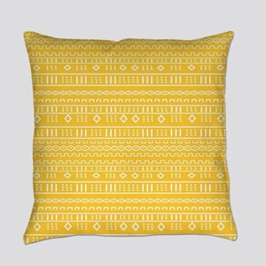 Yellow Gold Modern Mudcloth Everyday Pillow