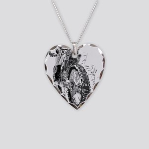 Motor Cross Necklace Heart Charm
