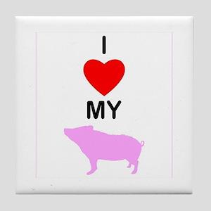 I 'Heart' My Pig Tile Coaster