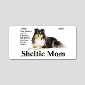 Tri-Color Sheltie Mom Aluminum License Plate