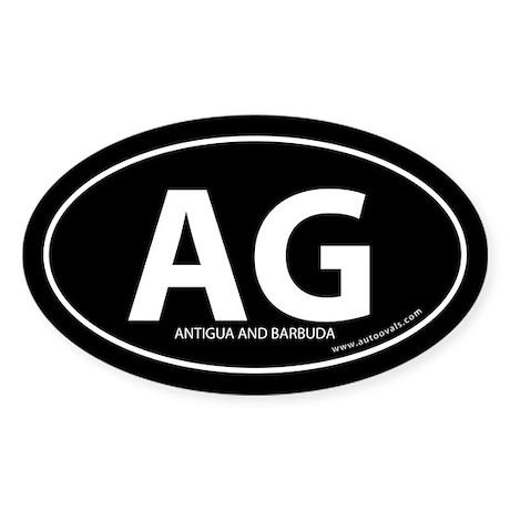 Antigua and Barbuda bumper sticker -Black (Oval)