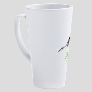 Watercolor Chickadee Bird on Pine 17 oz Latte Mug
