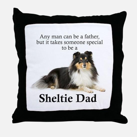 Tri-Color Sheltie Dad Throw Pillow