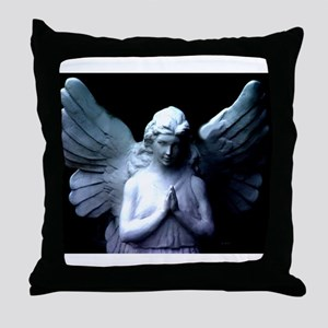praying cemetery angel Throw Pillow