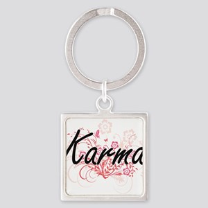Karma Artistic Name Design with Flowers Keychains