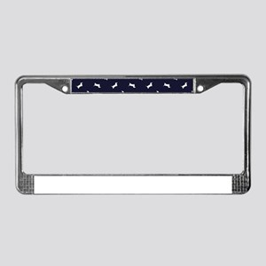 Dachshund Pattern - Navy License Plate Frame