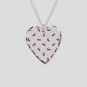 Dachshund Pattern - Hearts Necklace Heart Charm