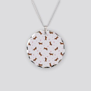 Dachshund Pattern - Hearts Necklace Circle Charm