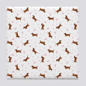 Dachshund Pattern - Hearts Tile Coaster