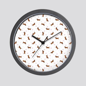 Dachshund Pattern - Hearts Wall Clock