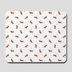 Dachshund Pattern - Hearts Mousepad