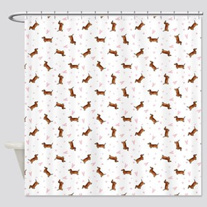 Dachshund Pattern - Hearts Shower Curtain