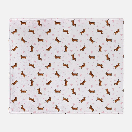 Dachshund Pattern - Hearts Throw Blanket