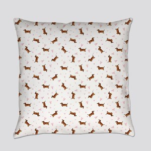 Dachshund Pattern - Hearts Everyday Pillow