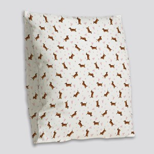 Dachshund Pattern - Hearts Burlap Throw Pillow