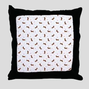 Dachshund Pattern - Hearts Throw Pillow