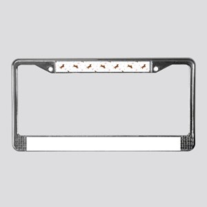 Dachshund Pattern - Hearts License Plate Frame