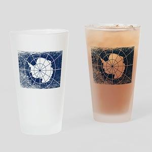 Flag of Antarctica Grunge Drinking Glass