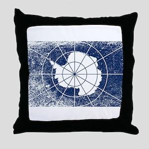 Flag of Antarctica Grunge Throw Pillow