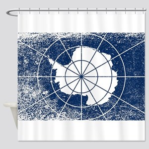 Flag of Antarctica Grunge Shower Curtain