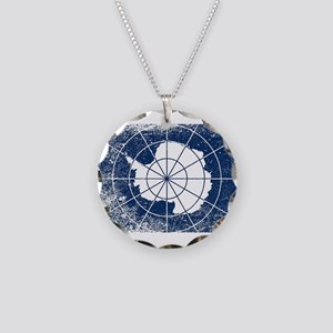 Flag of Antarctica Grunge Necklace Circle Charm