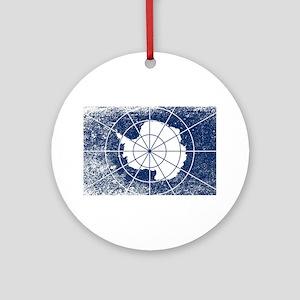 Flag of Antarctica Grunge Round Ornament