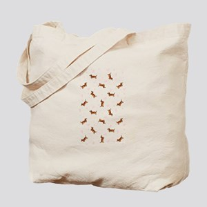 Dachshund Pattern - Hearts (isolated) Tote Bag