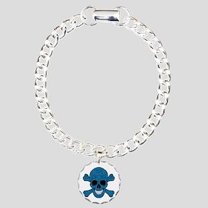 Faux Blue Glitter Skull And Crossbones Bracelet