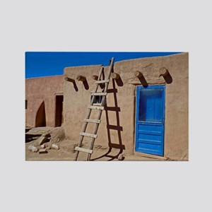 Taos Blue Door And Ladder Rectangle Magnet Magnets