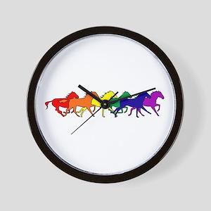 Horses Running Wild Wall Clock