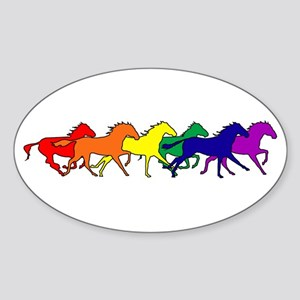 Horses Running Wild Oval Sticker