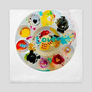 Artsy Artist Paint Palette - Love Art Queen Duvet