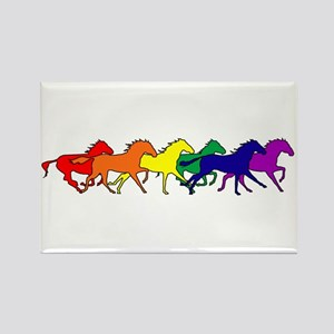 Horses Running Wild Rectangle Magnet