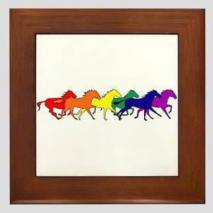 Horses Running Wild Framed Tile