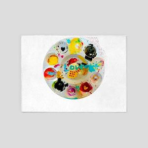 Artsy Artist Paint Palette - Love 5'x7'Area Rug