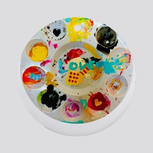 Artsy Artist Paint Palette - Love Round Ornament