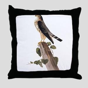 Merlin Falcon Audubon Vintage Art Throw Pillow
