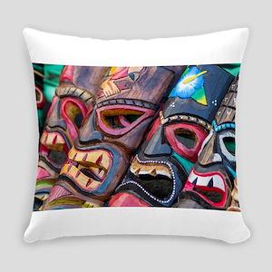 Colorful Hawaiian Tikis Everyday Pillow